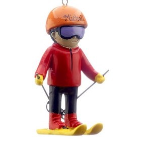 Personalized Young Skier Christmas Ornament