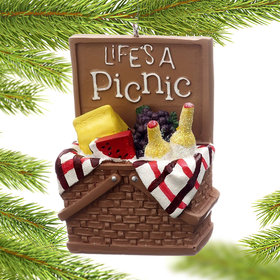 Personalized Life's A Picnic Basket Christmas Ornament