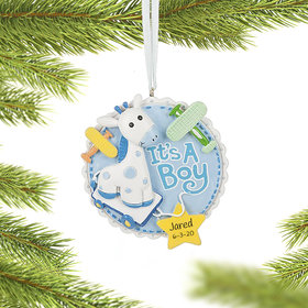 Personalized It's a Boy Annoucement Christmas Ornament