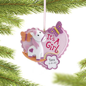 Personalized It's a Girl Announcement Christmas Ornament