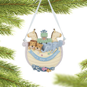 Personalized Baby's 1st Christmas Yellow Noah's Ark Christmas Ornament
