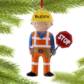 Personalized Construction Worker with Stop Sign Christmas Ornament