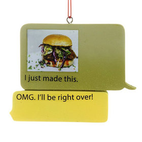 Texting Foodie Christmas Ornament