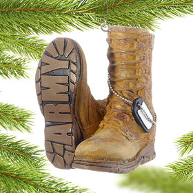 Personalized Military Boots (Army) Christmas Ornament