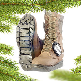 Personalized Military Boots (Marines) Christmas Ornament