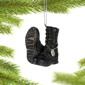 Personalized Military Boots (Navy) Christmas Ornament