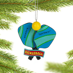 Personalized Pickleball Paddles and Ball Christmas Ornament