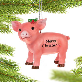 Personalized Boxed Pig Christmas Ornament