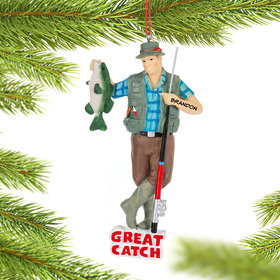 Personalized Great Catch Fishing Christmas Ornament