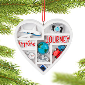 Personalized Love to Travel Heart Christmas Ornament