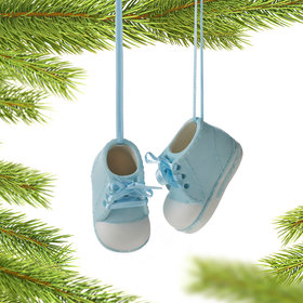 Personalized Newborn Baby Shoes (Boy) Christmas Ornament