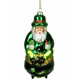 Personalized Irish Santa Sitting on a Pot of Gold Christmas Ornament