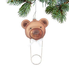 Personalized Teddy Bear Diaper Pin Christmas Ornament