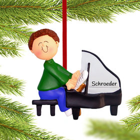 Personalized Piano Player Male Christmas Ornament