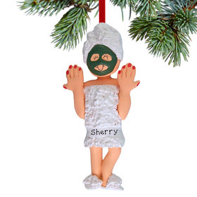 Personalized Spa Girl Christmas Ornament