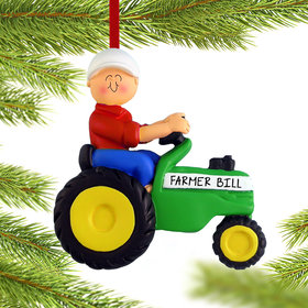 Personalized Green Tractor Male Christmas Ornament