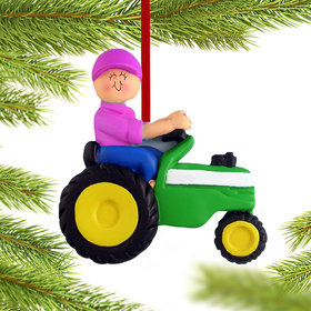 Green Tractor Female Christmas Ornament