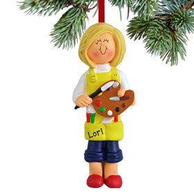 Personalized Artist Female Christmas Ornament