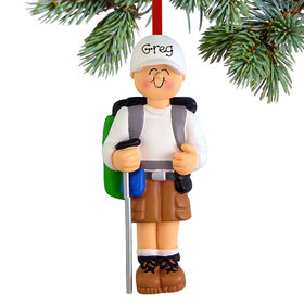 Personalized Hiker Male Christmas Ornament