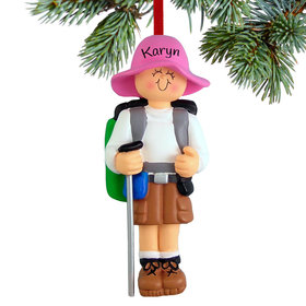 Personalized Hiker Female Christmas Ornament