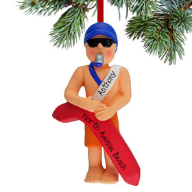 Personalized Lifeguard Male Christmas Ornament