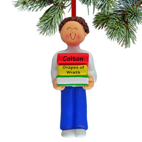 Personalized Reader Boy Christmas Ornament