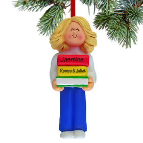 Personalized Reader Girl Christmas Ornament