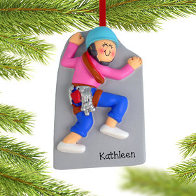 Personalized Rock Climber Female Christmas Ornament