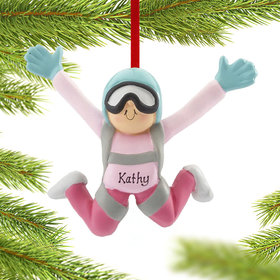 Personalized Skydiver Female Christmas Ornament