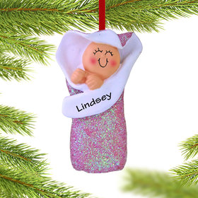 Personalized Baby Girl in Bunting Christmas Ornament