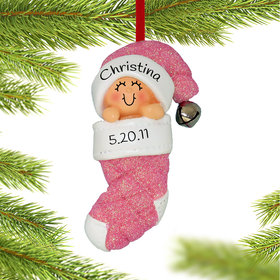 Personalized Baby Girl in Stocking Christmas Ornament