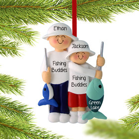 Personalized Fishing Dad and Son or Grandpa and Grandson Christmas Ornament