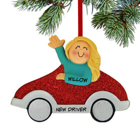 Personalized New Driver Girl (Red Car) Christmas Ornament