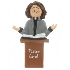 Personalized Minister Female Christmas Ornament