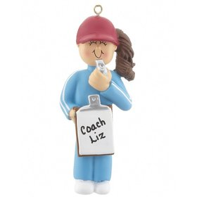 Personalized Coach Female with a Whistle Christmas Ornament