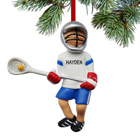 Personalized Lacrosse Boy with Ball in Net Christmas Ornament