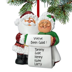 Personalized Mr. & Mrs. Claus List Christmas Ornament