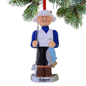 Personalized Fisherman Holding the Catch of the Day Christmas Ornament