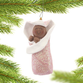 Baby Girl in Bunting Christmas Ornament