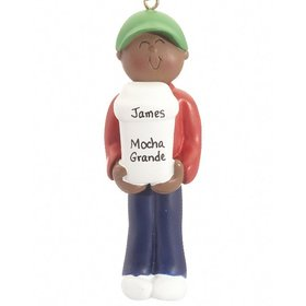 Personalized Ethnic Coffee Drinker Male Christmas Ornament