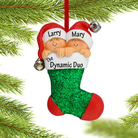 Personalized Twins in Stocking Christmas Ornament