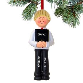 Personalized First Communion with Bible Boy Christmas Ornament