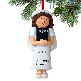 Personalized First Communion with Bible Girl Christmas Ornament