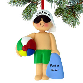 Personalized Beach Child Boy Christmas Ornament