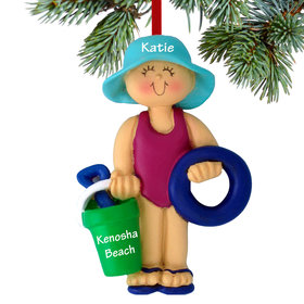 Personalized Beach Child Girl Christmas Ornament