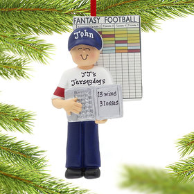 Personalized Fantasy Football Male Christmas Ornament