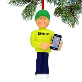 Personalized Smart Phone Male Christmas Ornament