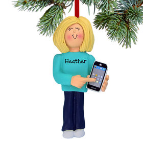 Personalized Smart Phone Female Christmas Ornament