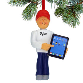 Personalized Touch Tablet Computer Male Christmas Ornament