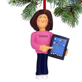 Personalized Touch Tablet Computer Female Christmas Ornament